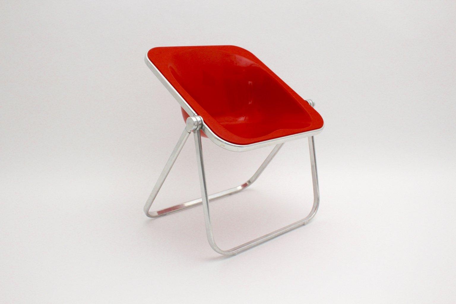 chaise pliante plona rouge par giancarlo piretti pour castelli 1969 en vente sur pamono. Black Bedroom Furniture Sets. Home Design Ideas