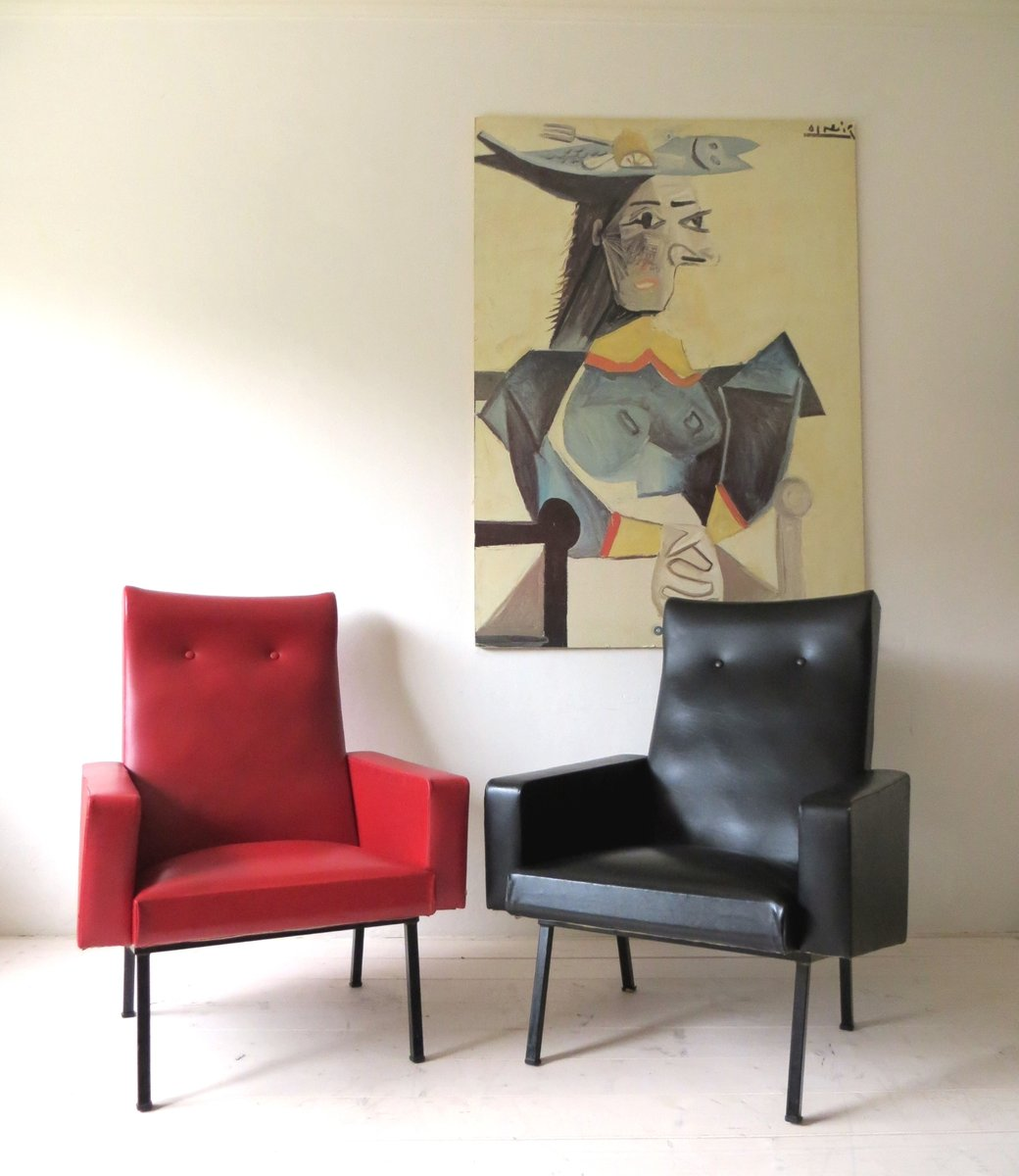 Französische Vintage Sessel in Rot & Schwarz, 1950er, 2er Set