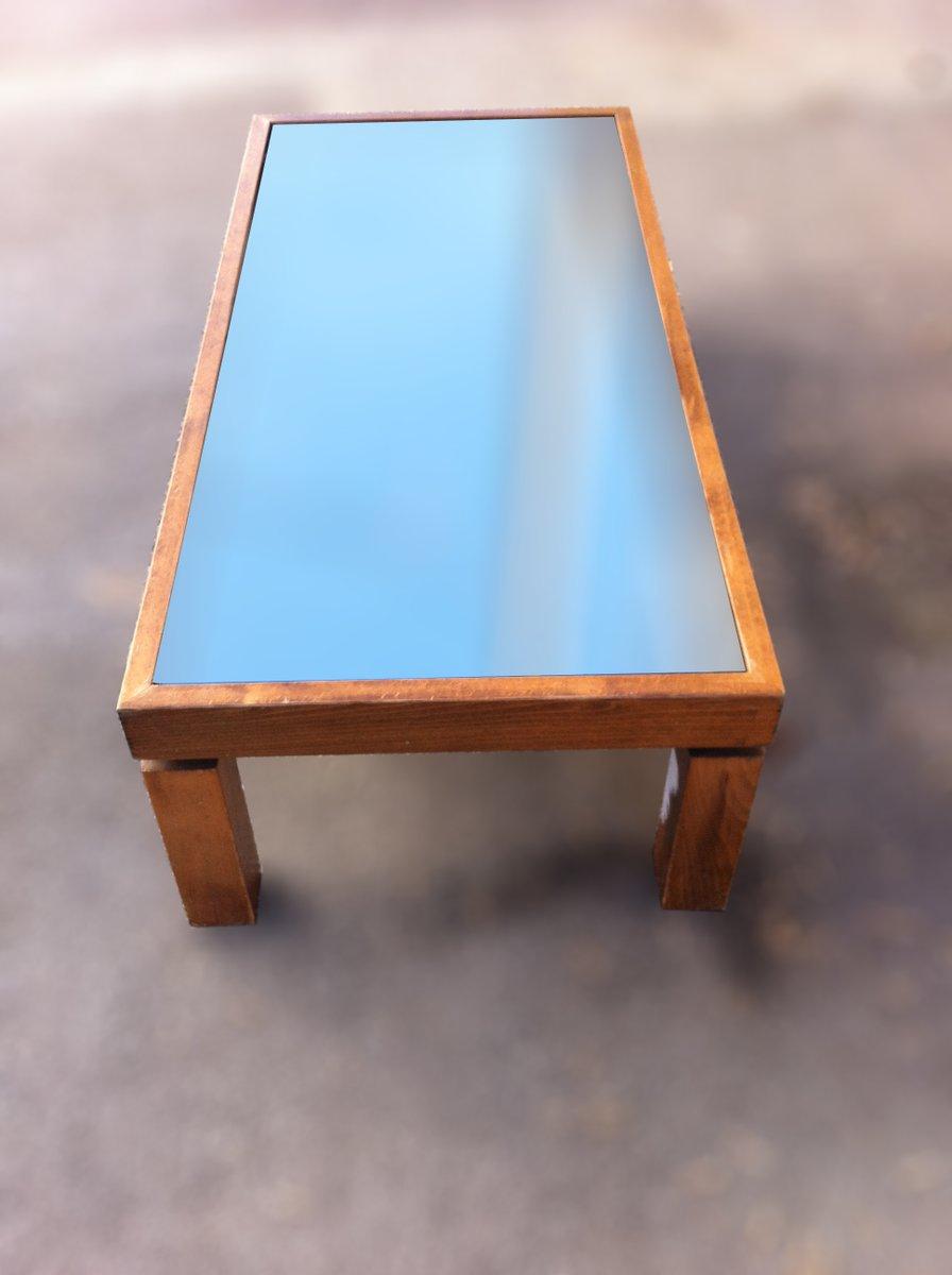 table basse vintage en bois avec plateau en miroir noir en vente sur pamono. Black Bedroom Furniture Sets. Home Design Ideas