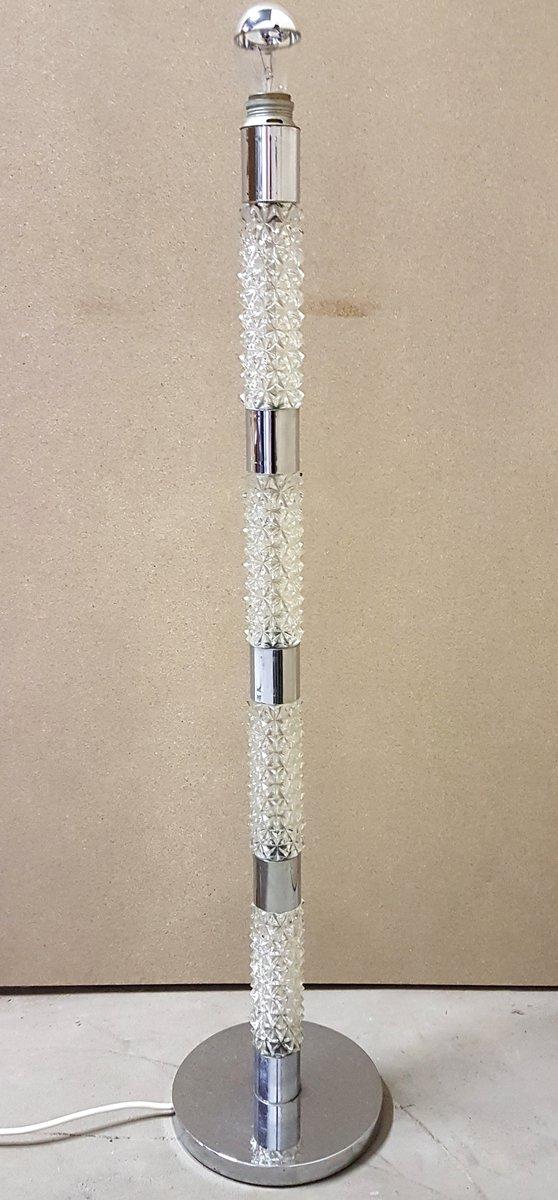 Stehlampe aus Kristallglas und Chrom, 1960er