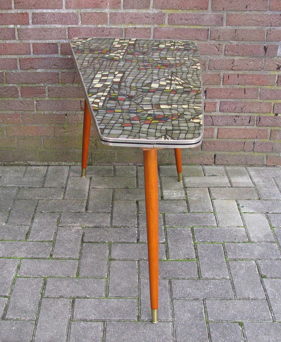 Vintage Mosaic Kidney Shaped Coffee Table, 1960s For Sale