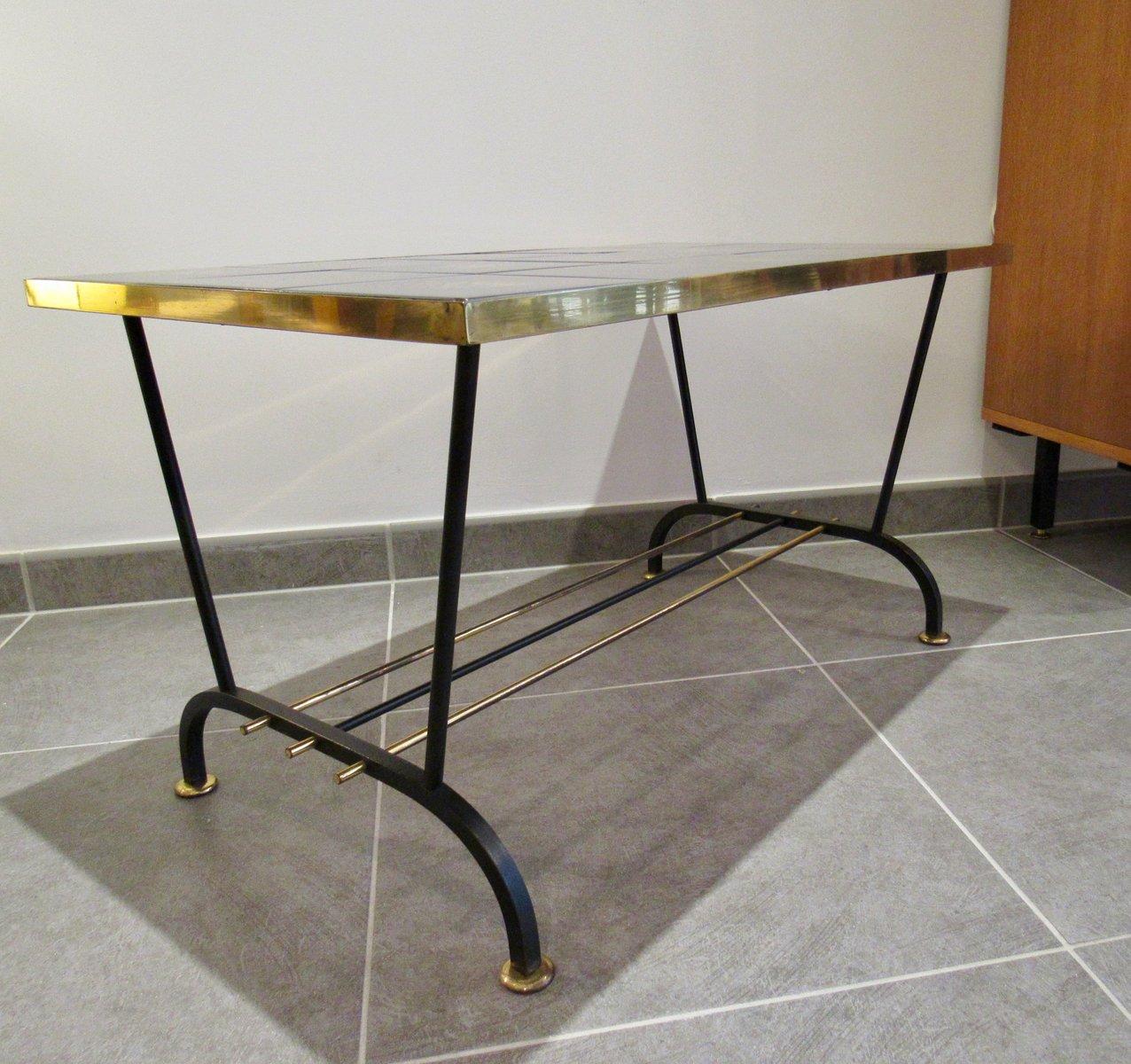 table basse vintage en noir et or en vente sur pamono. Black Bedroom Furniture Sets. Home Design Ideas