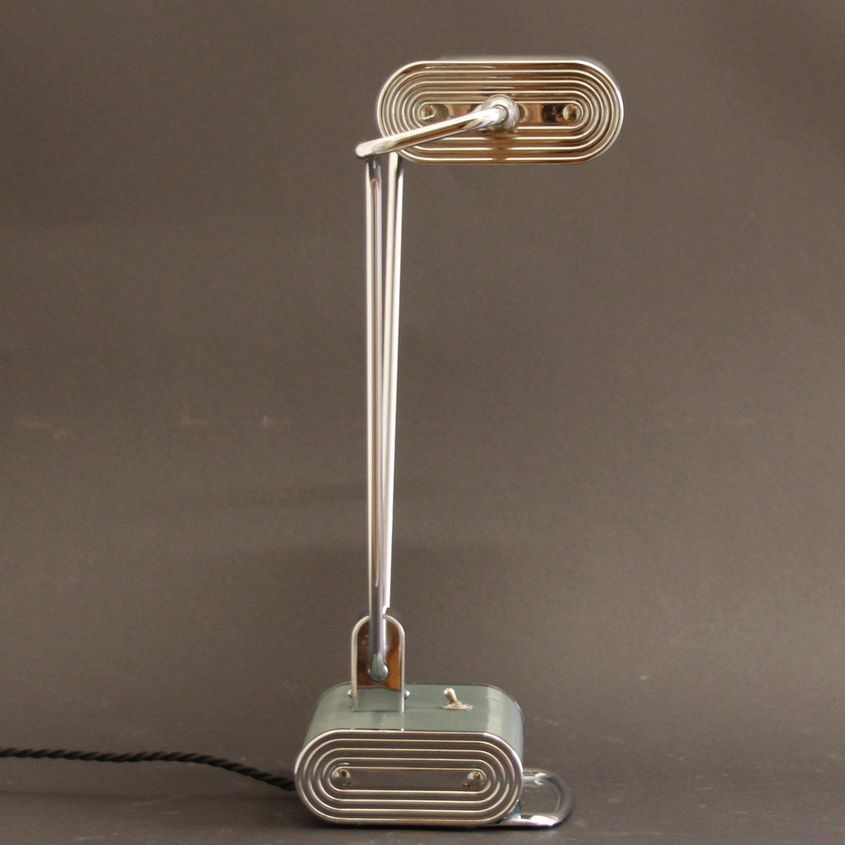 Green Chrome Art Deco Desk Lamp By Eileen Gray For Jumo