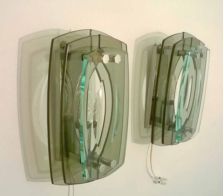Italienische Wandleuchten aus Glas, 1960er, 2er Set