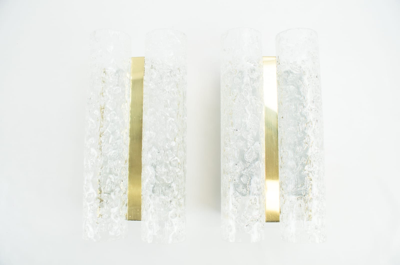 Brass & Frosted Glass Sconces from Doria, 1960s, Set of 2