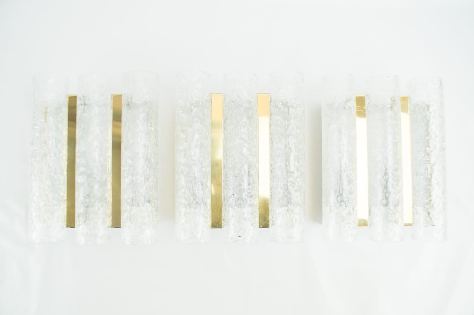 Röhren-Wandleuchten aus Messing & Milchglas von Doria, 1960er, 3er Set