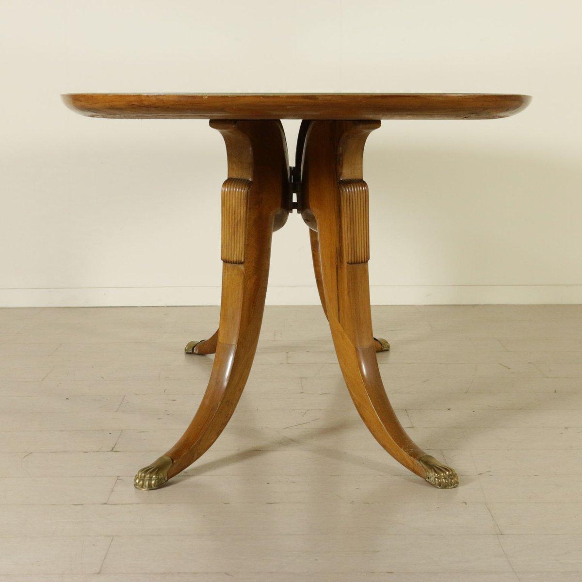 italienischer vintage buchenholz tisch mit glasplatte und marmor optik bei pamono kaufen. Black Bedroom Furniture Sets. Home Design Ideas