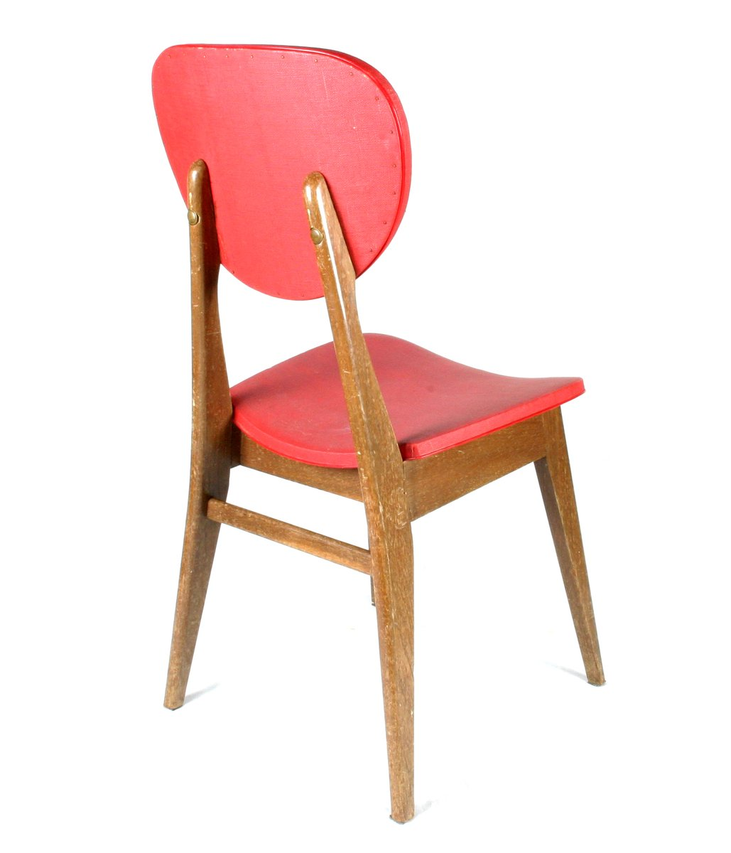 chaises vintage en bois rouge set de 4 en vente sur pamono. Black Bedroom Furniture Sets. Home Design Ideas