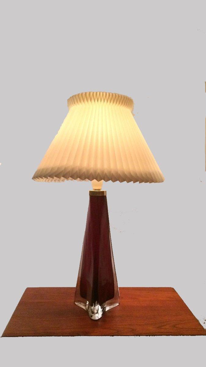Große Rote Dreieckige Glas Tischlampe von Carl Fagerlund für Orrefors,...