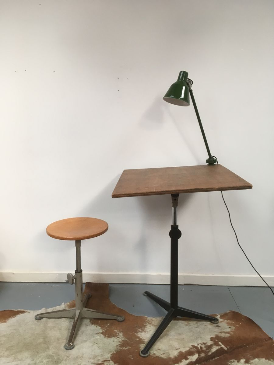 Vintage Drafting Table And Stool By Friso Kramer For