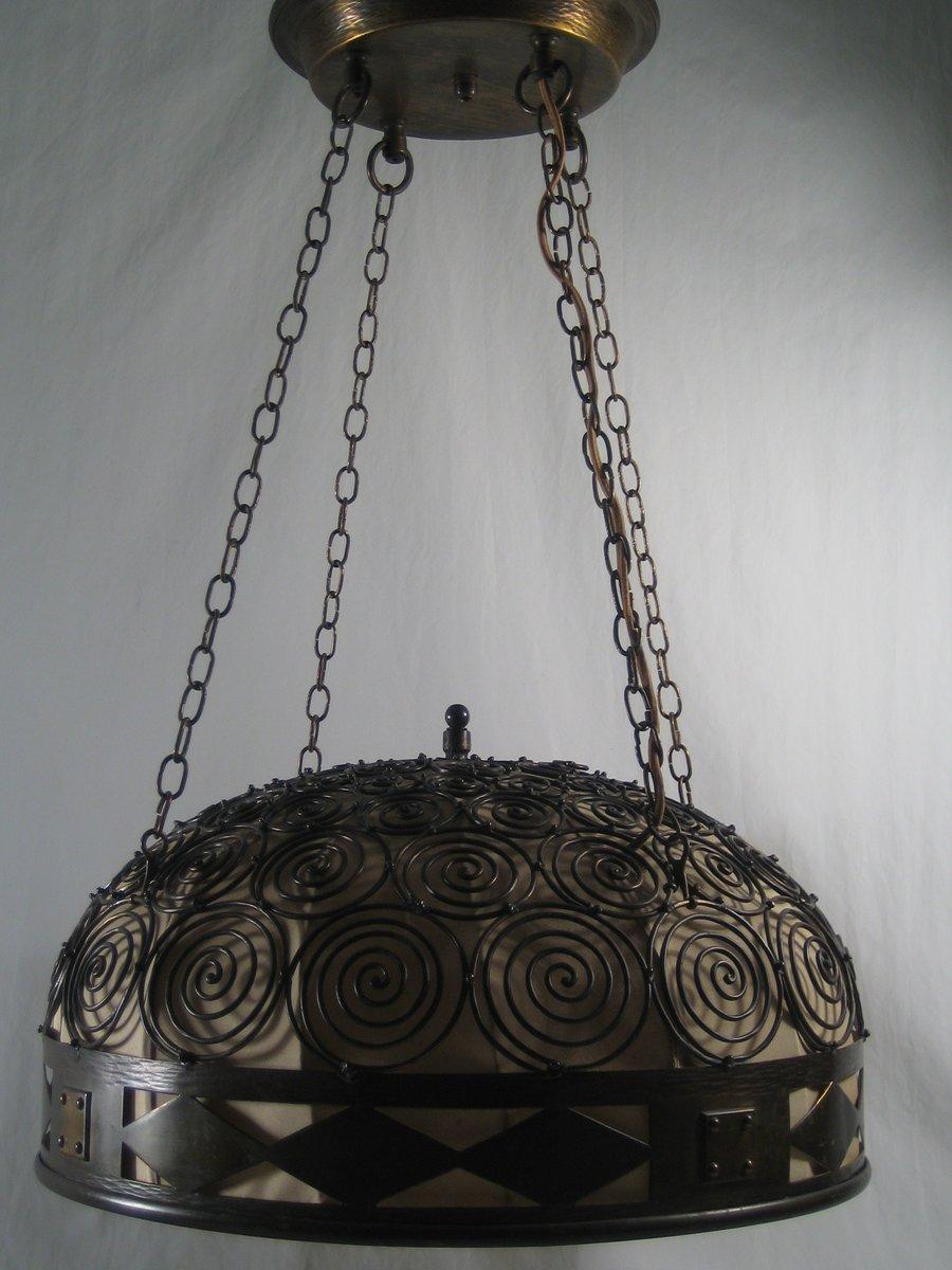 Antike Jugendstil Kupfer Hängelampe mit Spiralen