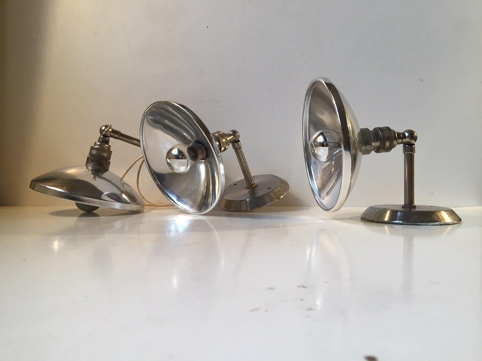 Französische Industrielle Vintage Wandlampen, 1950er, 3er Set