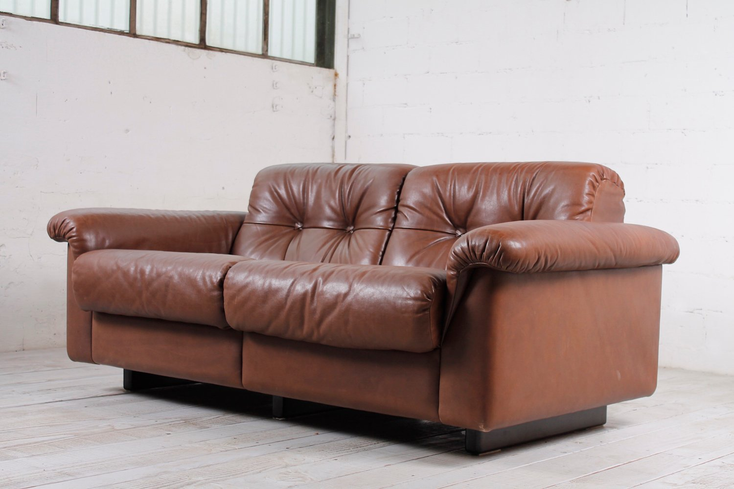Vintage 2 Seater Leather Sofa, 1960s