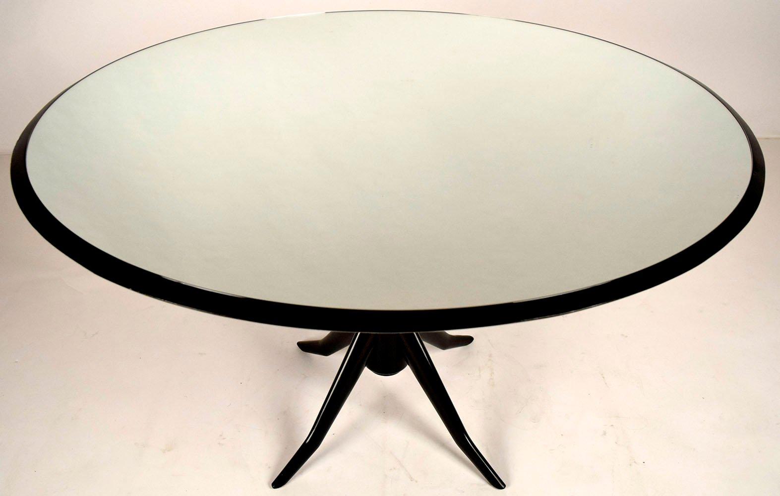 Tavolo Da Pranzo Rotondo : Tavolo da pranzo rotondo vintage con ripiano specchiato in vendita