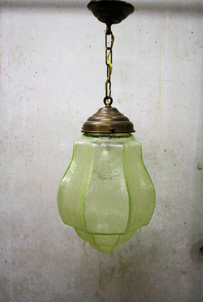 Green Art Deco Pendant Light With Le Gl 1930s