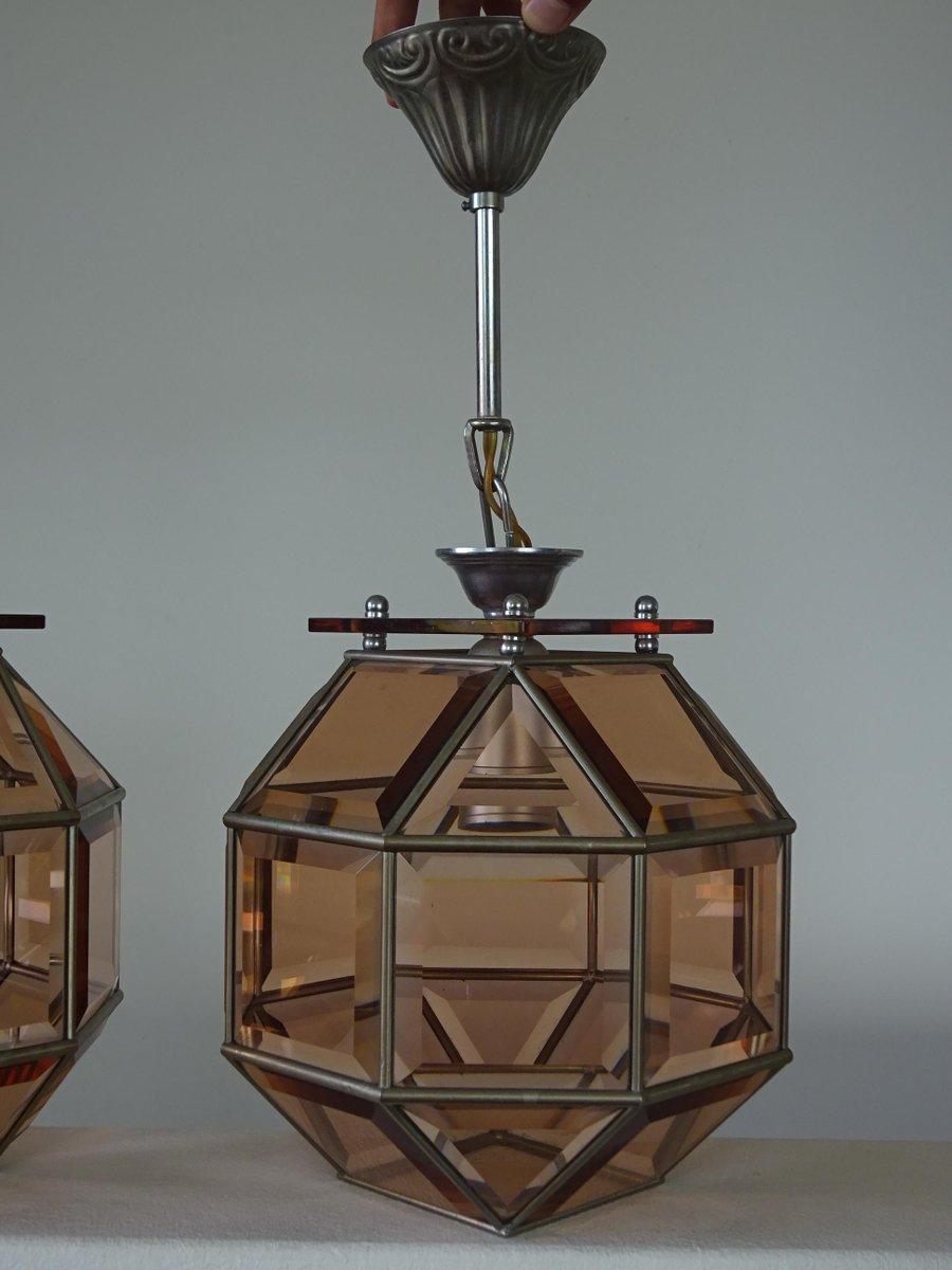 Achteckige Rauchglas Deckenlampen, 1960er, 2er Set
