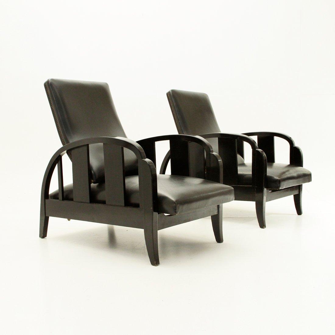 Schwarze Art Deco Leder Sessel 1930er 2er Set Bei Pamono Kaufen