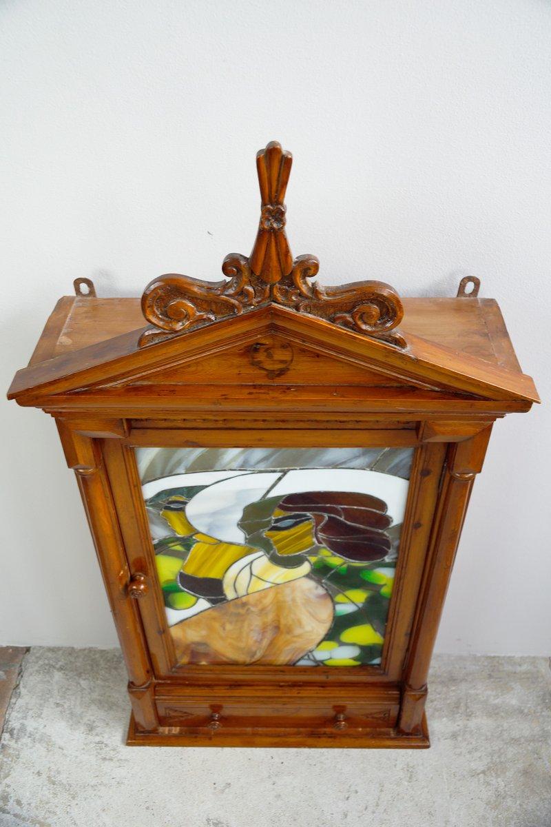 jugendstil h ngeschrank mit bleiglas bild 1900er bei pamono kaufen. Black Bedroom Furniture Sets. Home Design Ideas
