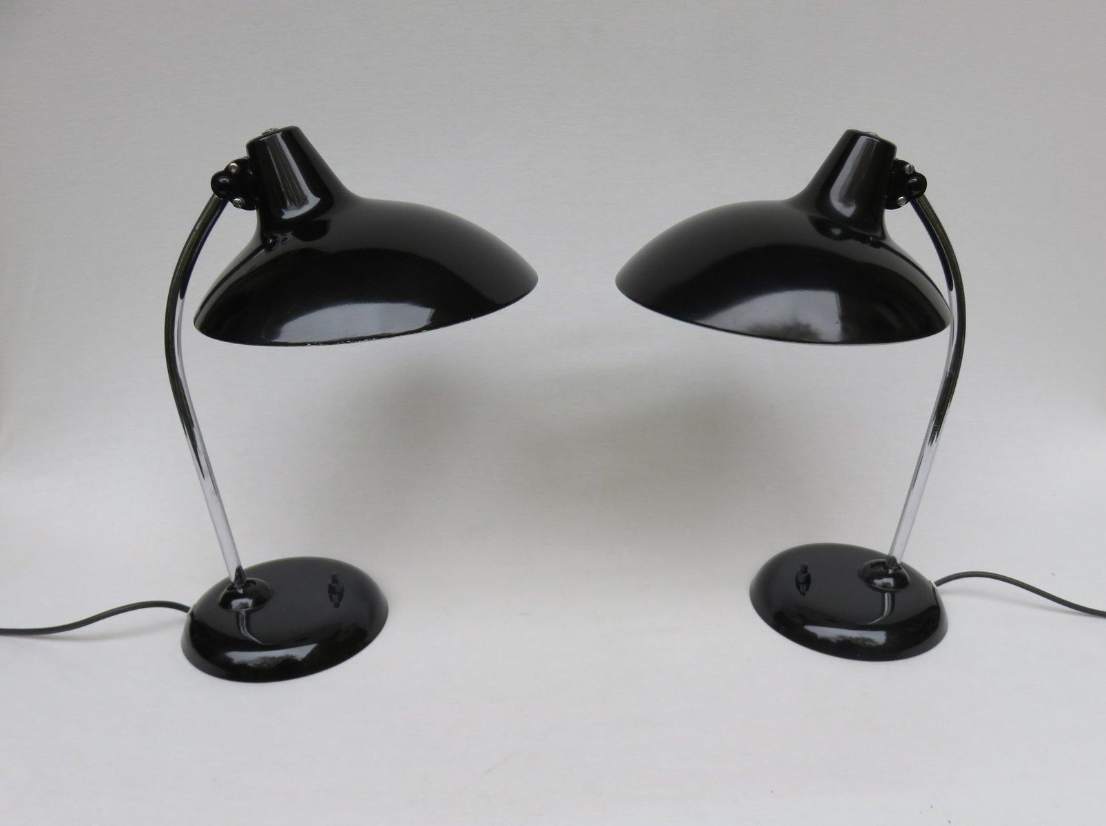 Schwarze Tischleuchten mit Chrom von Kaiser Leuchten, 1950er, 2er Set
