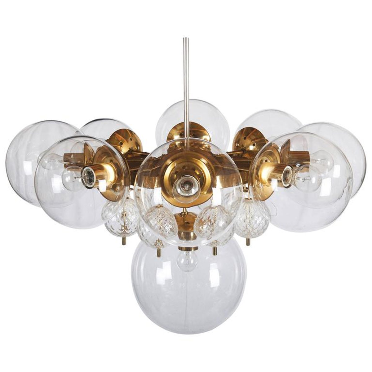 Large brass chandelier with crystal globes from kamenicky senov large brass chandelier with crystal globes from kamenicky senov 1960s aloadofball Images