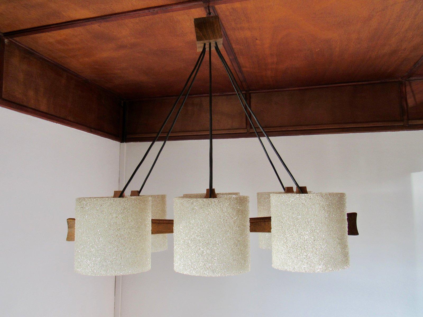 Deckenlampe aus Teak & Plexiglas, 1960er