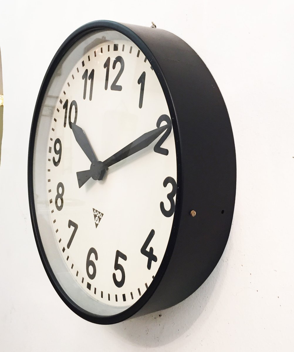 Large Industrial Factory Wall Clock From Pragatron 1950s
