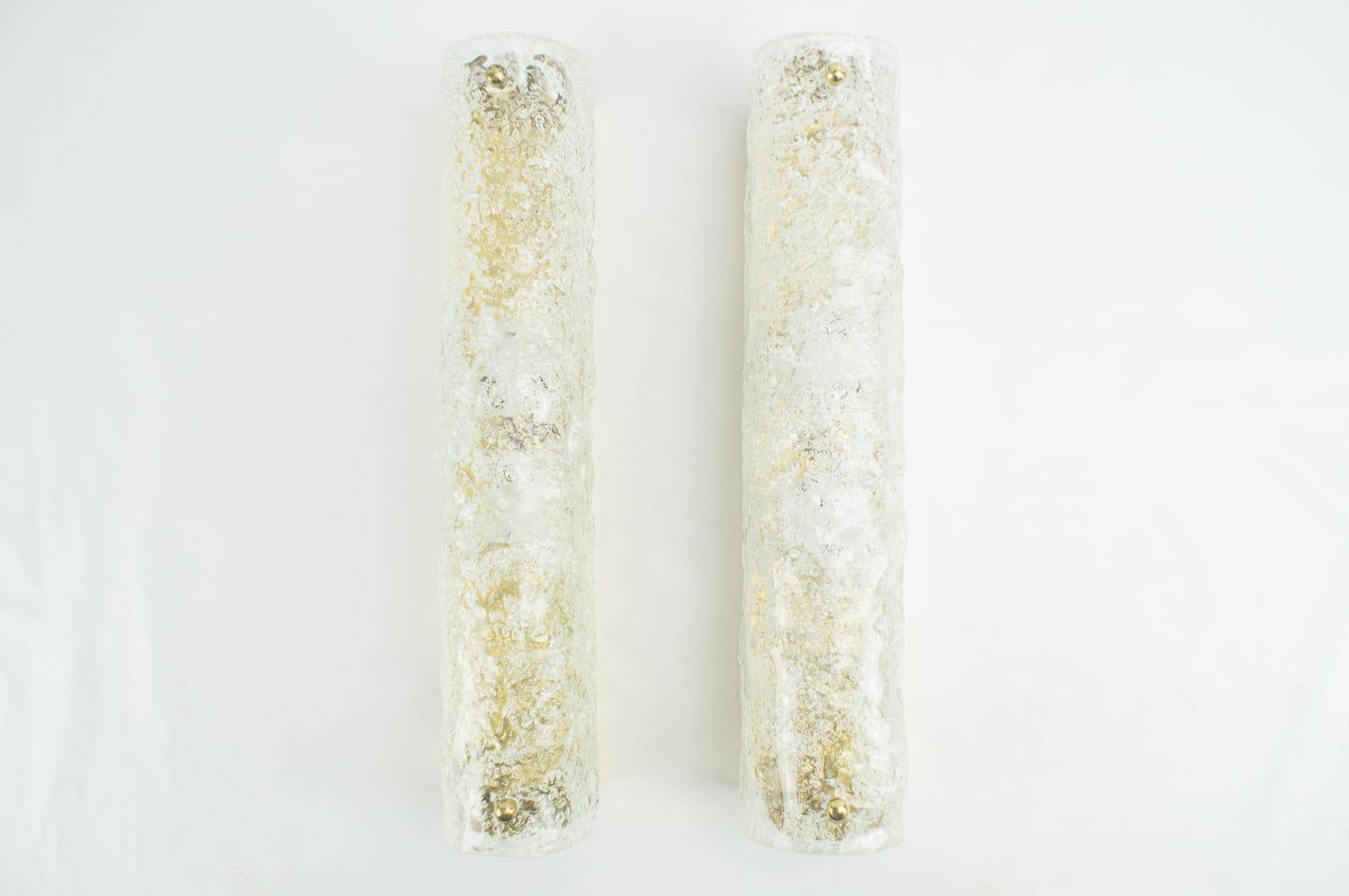 Röhrenförmige Wandleuchten aus Messing und Eisglas von Hillebrand, 196...