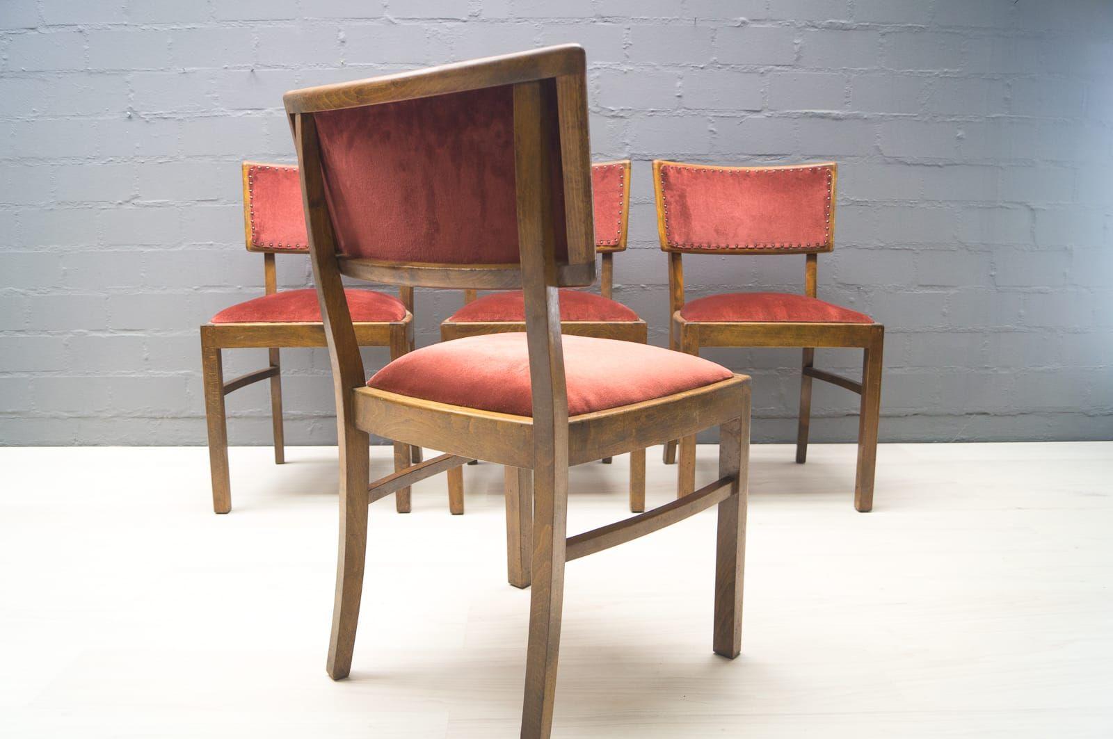 art deco esszimmerst hle 1940er 4er set bei pamono kaufen. Black Bedroom Furniture Sets. Home Design Ideas