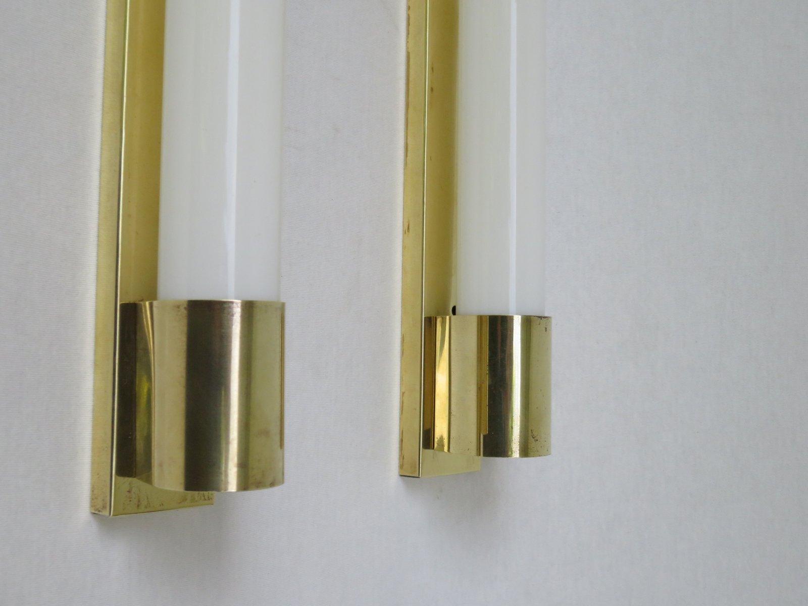 Lampade da parete art deco in ottone set di 4 in vendita su pamono - Lampade da parete di design ...