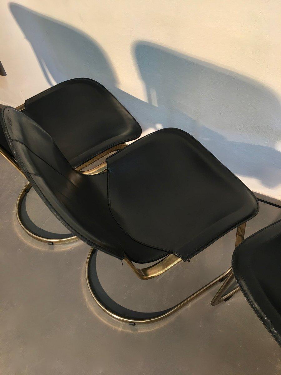 esszimmerst hle aus messing schwarzem leder von willy rizzo f r cidue 1970er 4er set bei. Black Bedroom Furniture Sets. Home Design Ideas