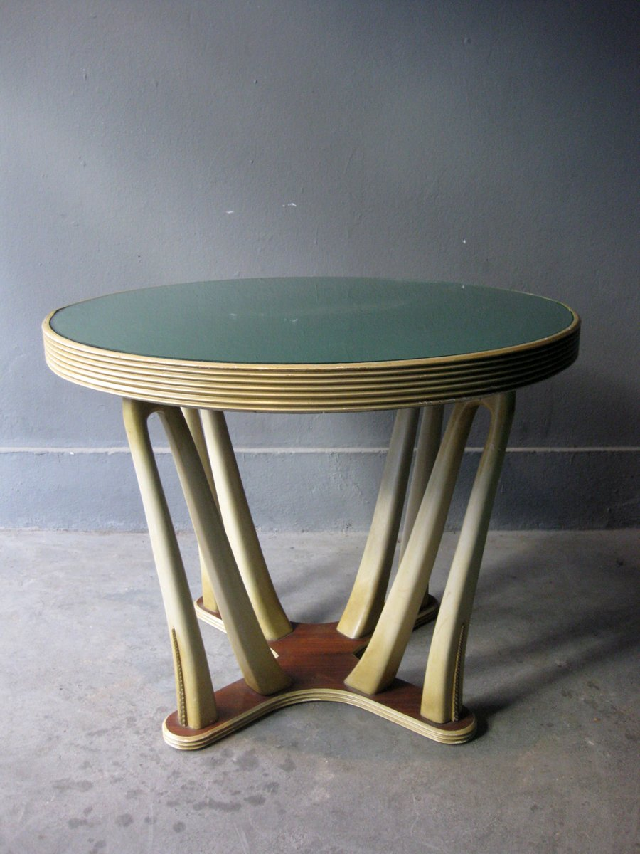Vintage Wood Glass Art Deco Style Table For Sale At Pamono