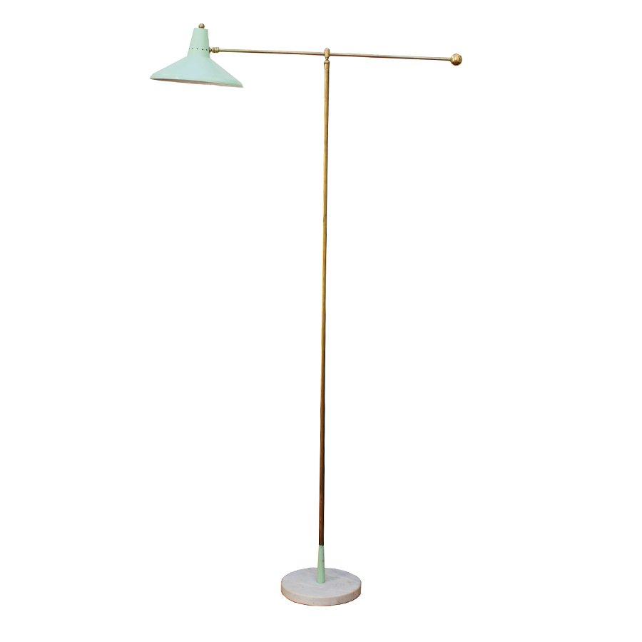 Stehlampe aus Messing & Marmor von Arredoluce, 1950er