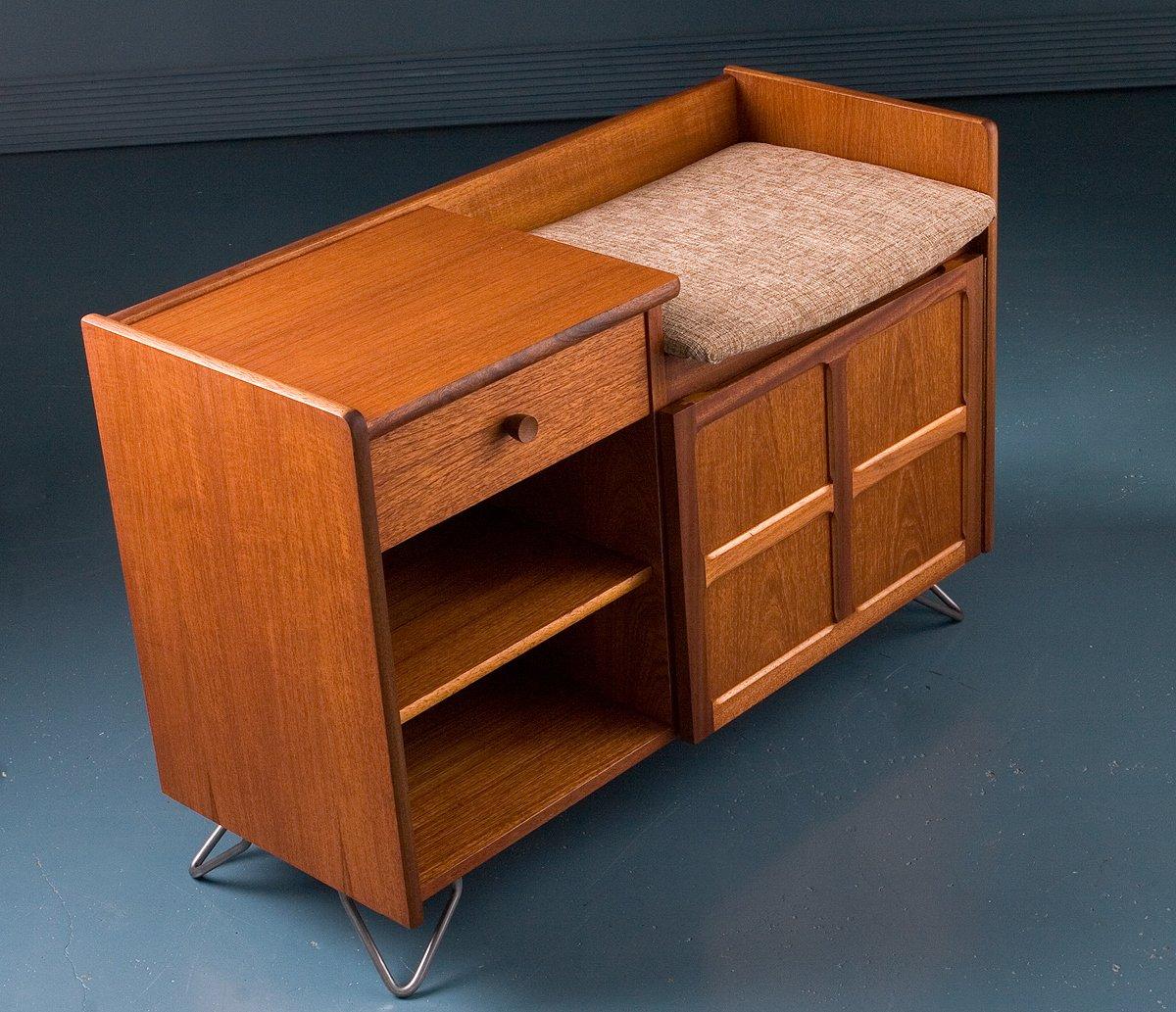 meuble pour t l phone avec si ge par nathan 1970s en vente sur pamono. Black Bedroom Furniture Sets. Home Design Ideas