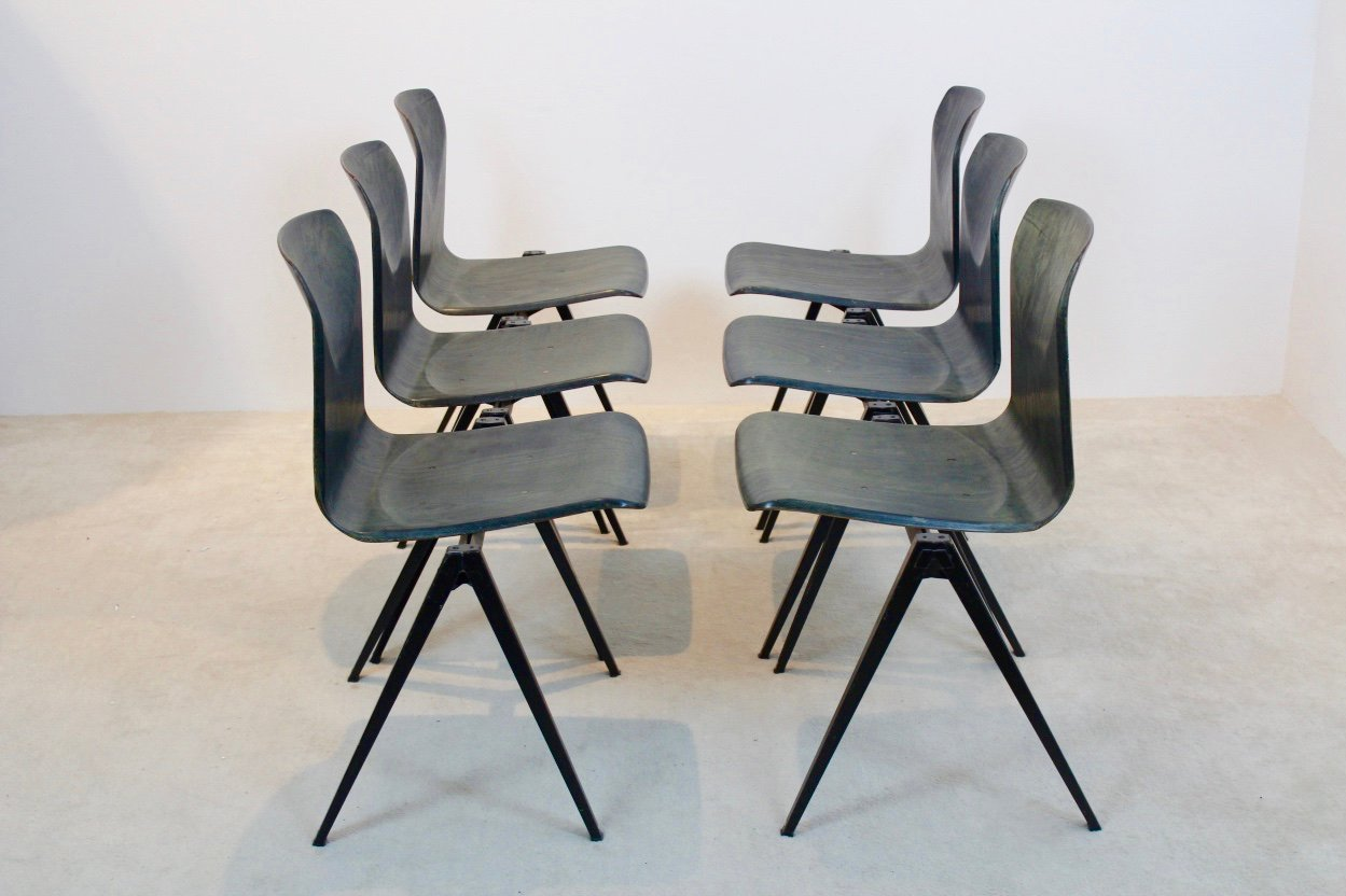 Two Toned Stackable Pagwood Industrial Diner Chair From Galvanitas, 1960s