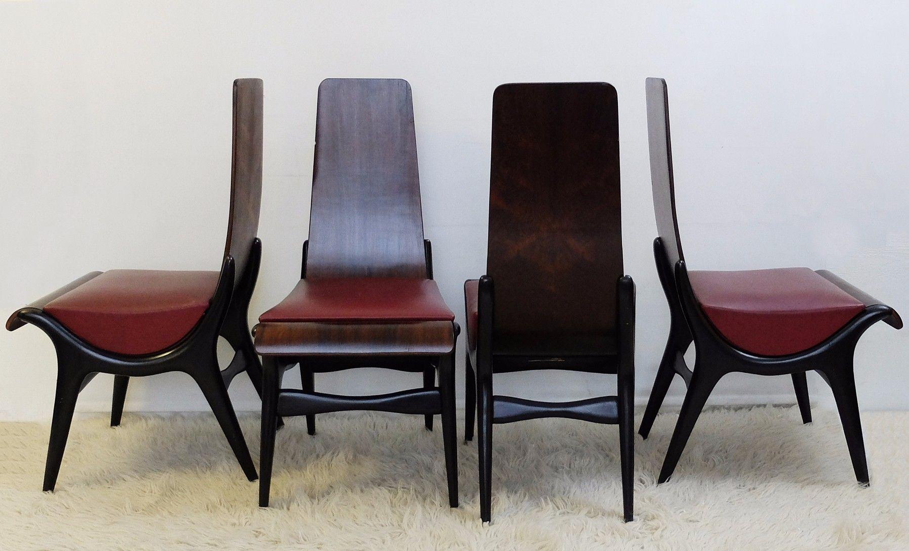 italienische st hle von pozzi verga 1960er 4er set bei pamono kaufen. Black Bedroom Furniture Sets. Home Design Ideas