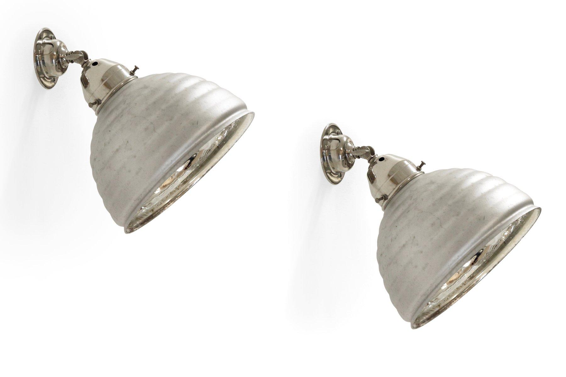 Funktionalistische Glas Wandlampen, 1930er, 2er Set