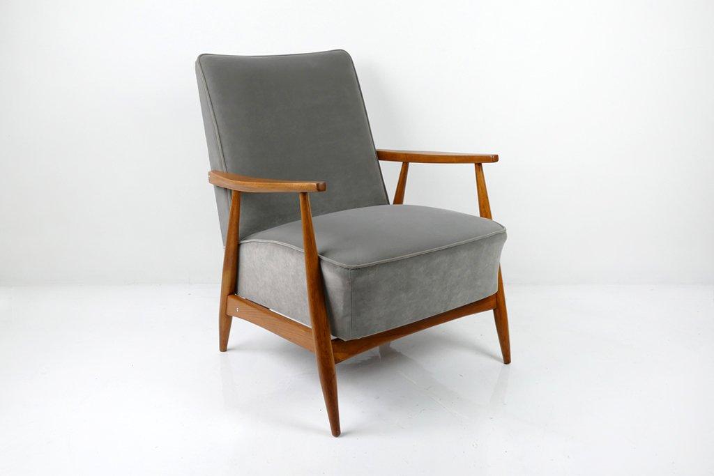 grauer sessel 1960er bei pamono kaufen. Black Bedroom Furniture Sets. Home Design Ideas