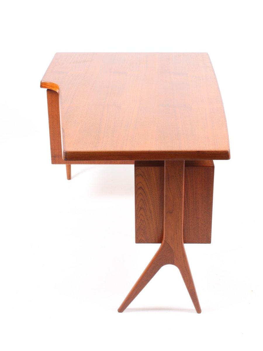 d nischer schreibtisch aus teak mit schrank 1950er bei pamono kaufen. Black Bedroom Furniture Sets. Home Design Ideas
