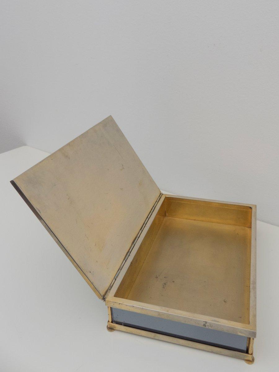 gro e box aus spiegelglas und messing von tommaso barbi 1960er bei pamono kaufen. Black Bedroom Furniture Sets. Home Design Ideas