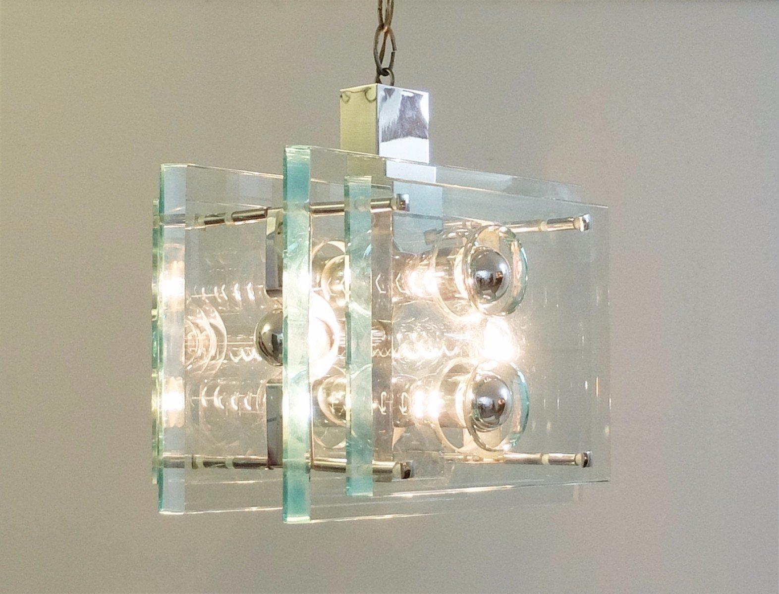 Lampada Sospensione Vetro Metallo Alien : Lampada a sospensione luci in metallo cromato e vetro