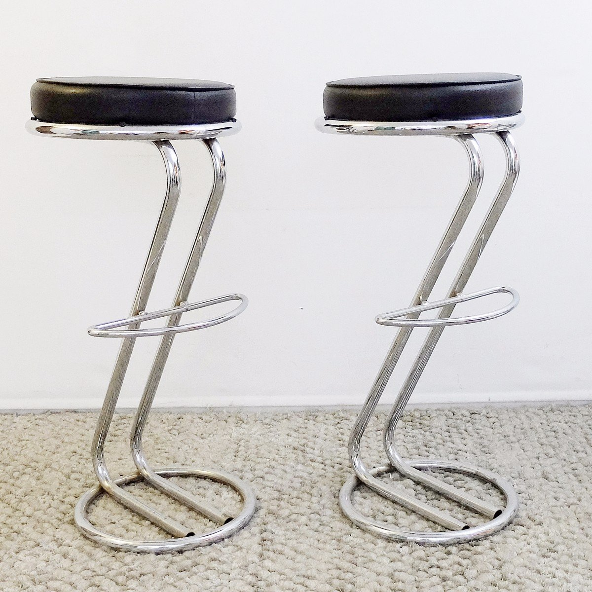 Mid century modern chrome bar stools set of 2