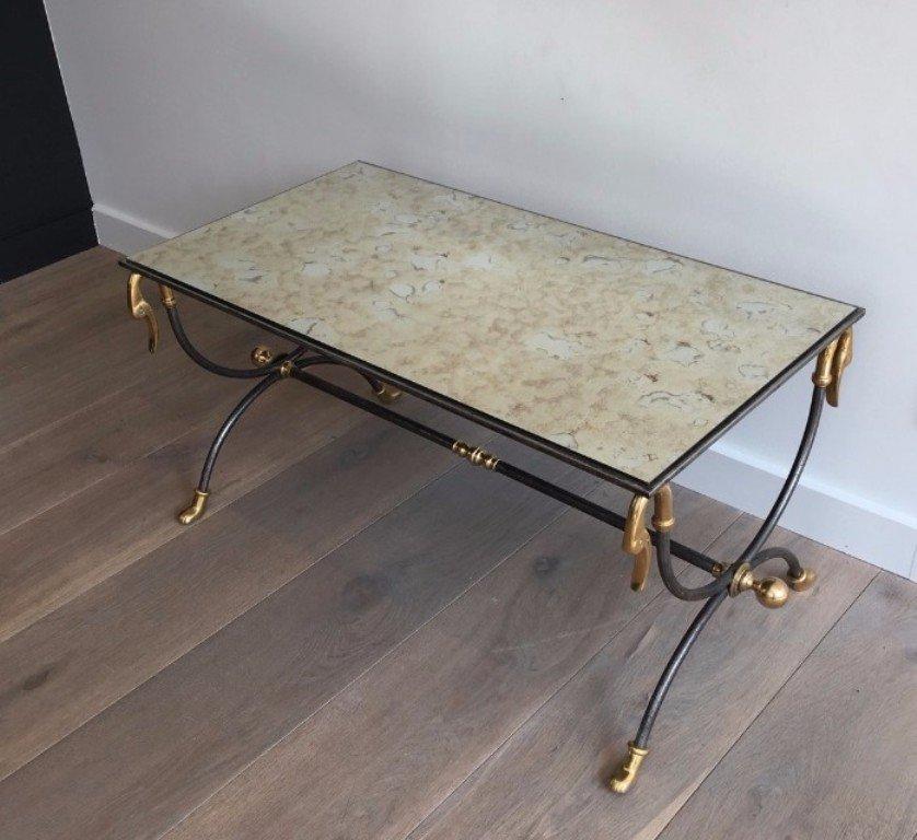 table basse en acier bross et laiton par maison jansen 1970s en vente sur pamono. Black Bedroom Furniture Sets. Home Design Ideas