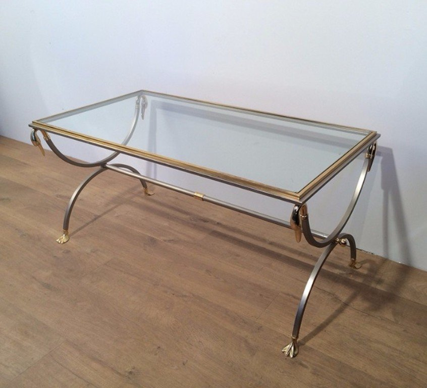 Vintage Brushed Steel And Brass Coffee Table With Swan