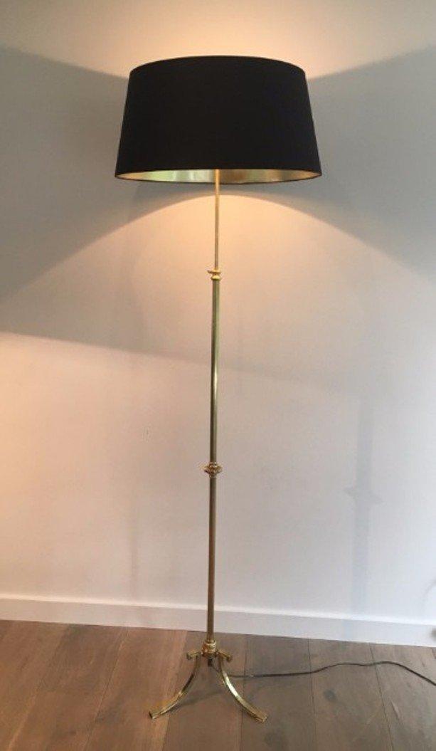 Vintage Messing Stehlampe mit Dreibein, 1940er