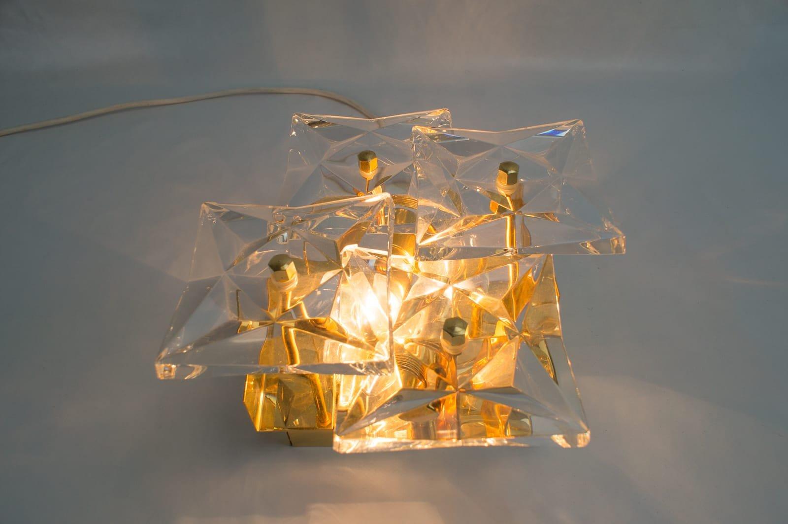 applique murale en verre avec cristal facettes de kinkeldey 1960s en vente sur pamono. Black Bedroom Furniture Sets. Home Design Ideas