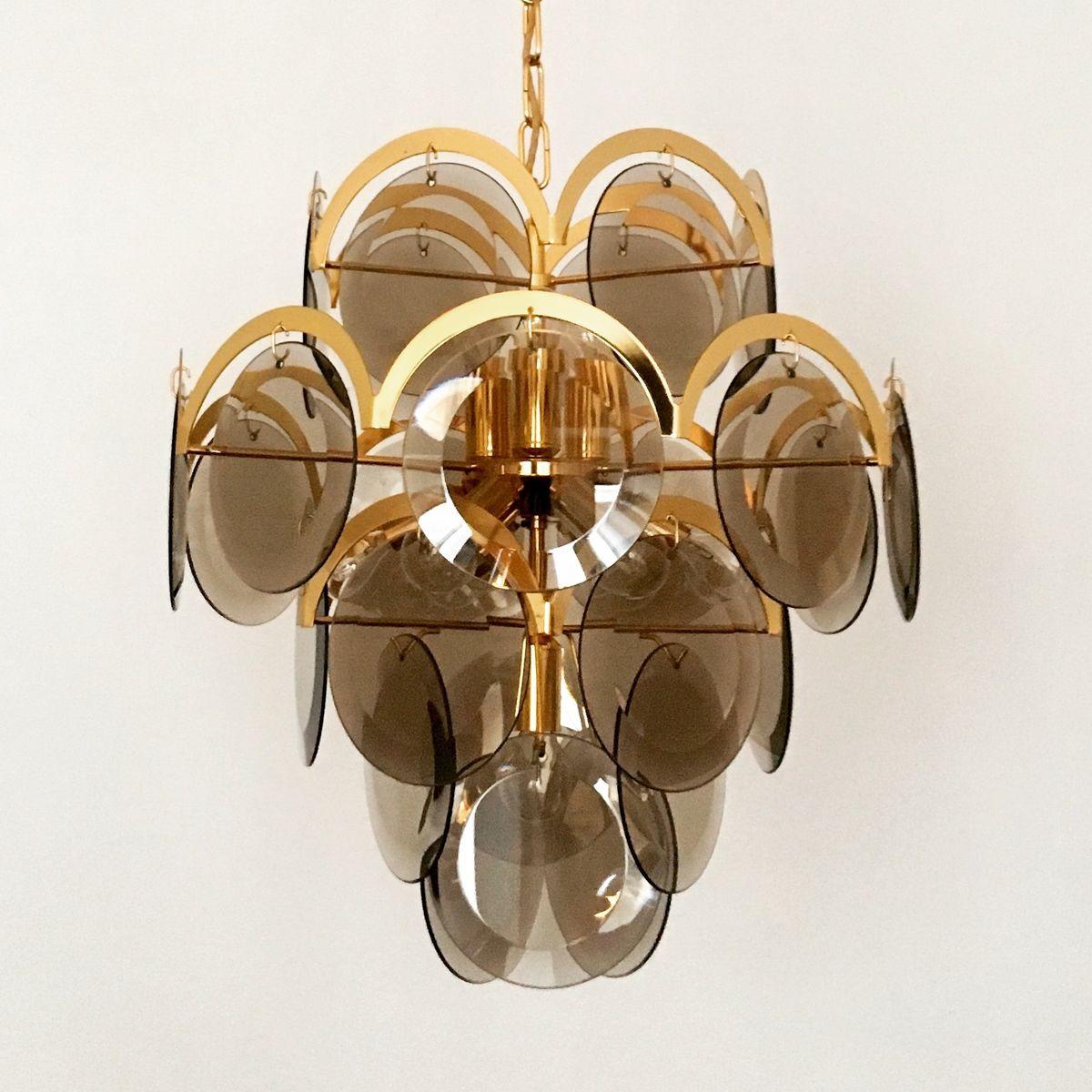 gro e vergoldete lampe von vistosi 1960er bei pamono kaufen. Black Bedroom Furniture Sets. Home Design Ideas