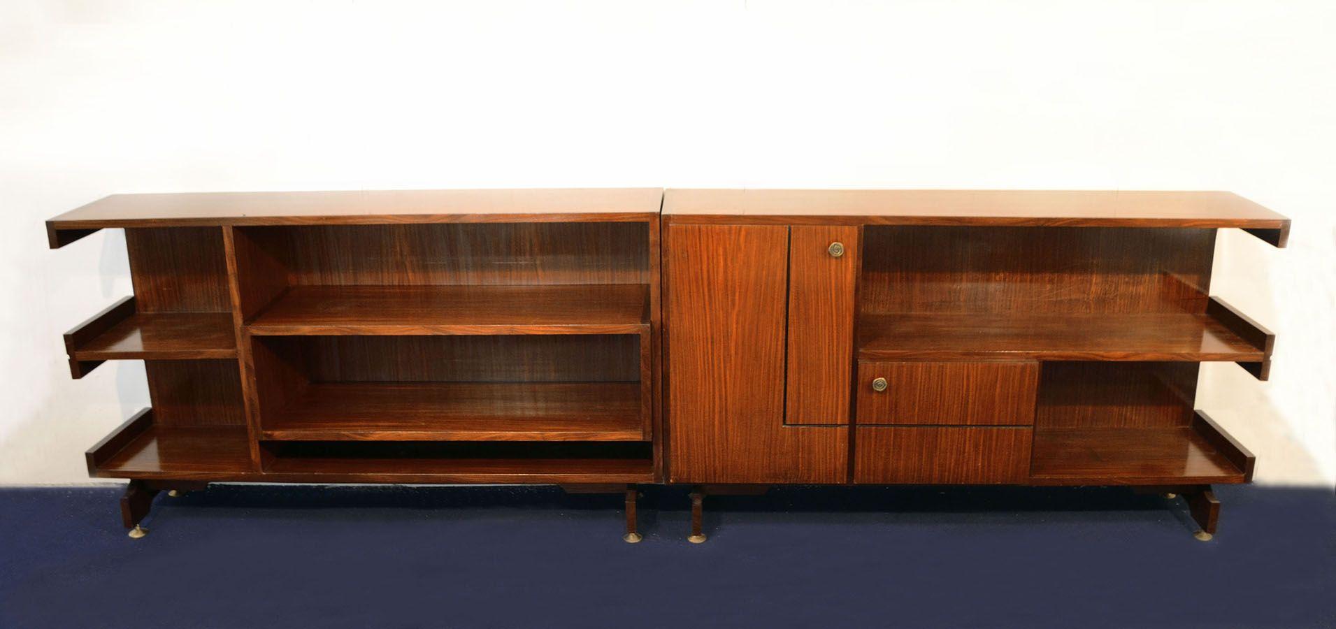 Modulare Sideboards mit Palisander-Furnier und Messing, 1960er, 2er Se...