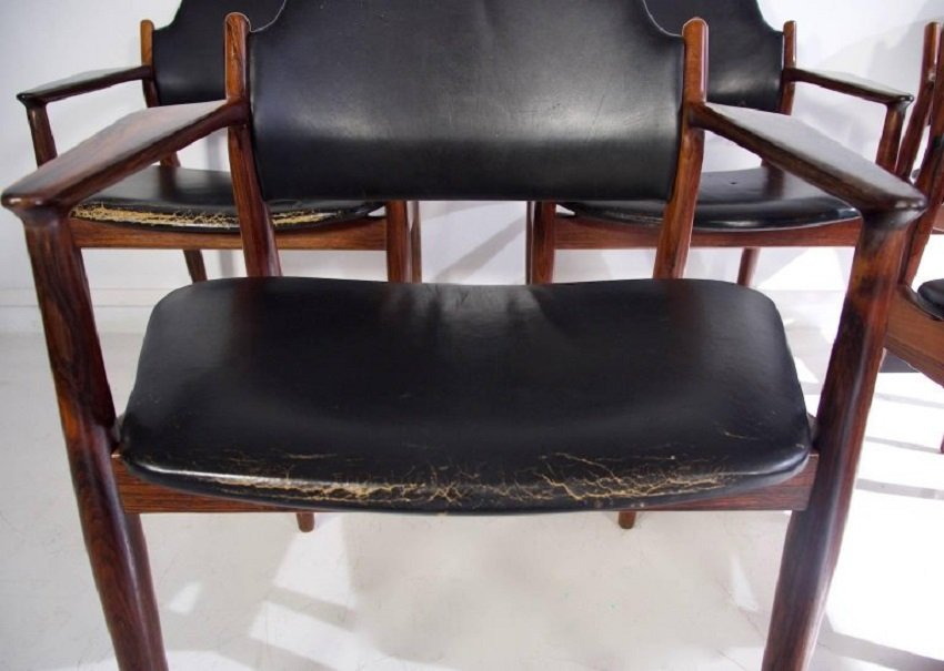 mid century 62 a black leather chair by arne vodder for sibast for sale at pamono. Black Bedroom Furniture Sets. Home Design Ideas
