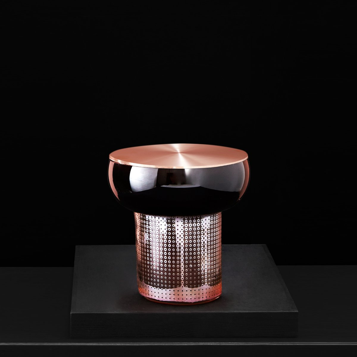 Colored by Copper Black Alchemist Vase with Cop...