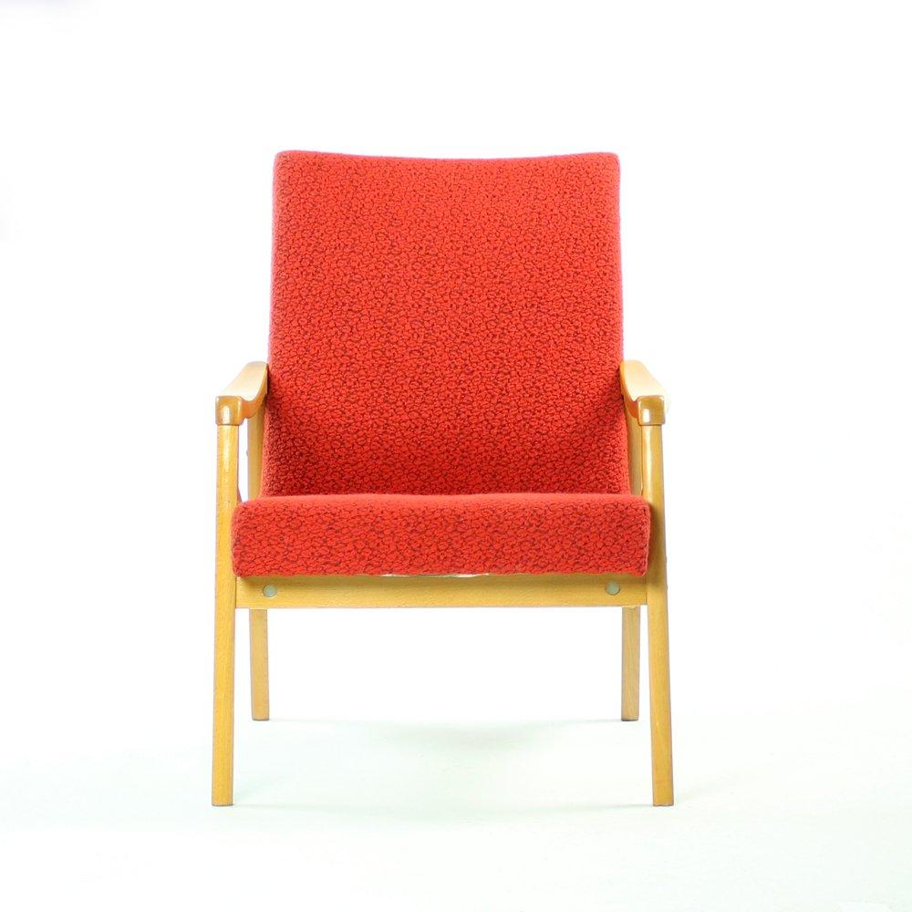 Rote Sessel von Interier Praha, 1960s, 2er Set